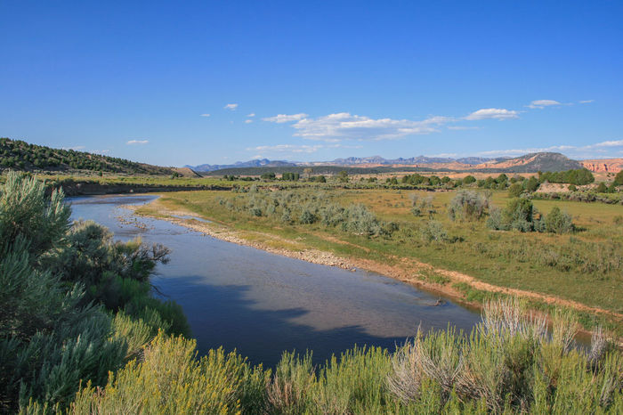 Sevier River and landscape in Utah around Hatch along Highway 89 Flowing Hatch Sevier River Utah Beauty In Nature Blue Sky Day Environment Grass Lake Land Landscape Nature No People Non-urban Scene Outdoors Plant Reflection River Scenics - Nature Sky Swamp Tranquil Scene Tranquility Water