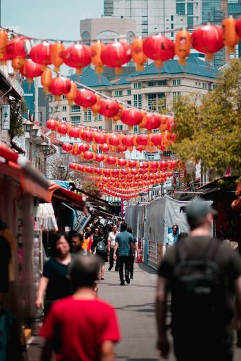 Chinese Red Chinese China Architecture City Group Of People Building Exterior Built Structure Street Crowd Chinese Lantern Chinese New Year Holiday