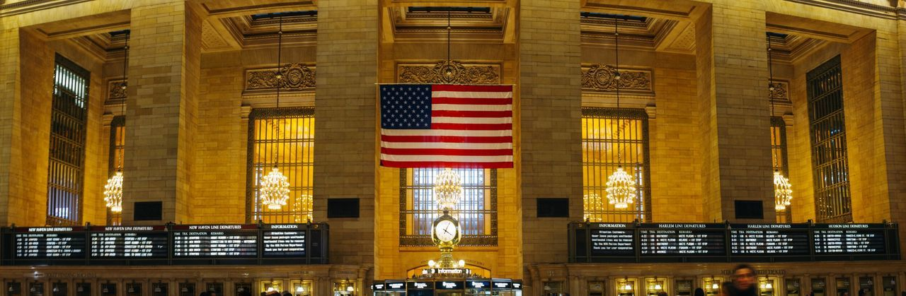 Flag USA FLAG Grand Central Station Mtanyc Theclock Architecture Stars And Stripes Indoors