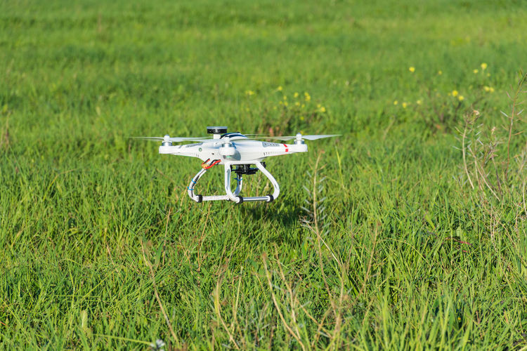 Drone On Grassy Field