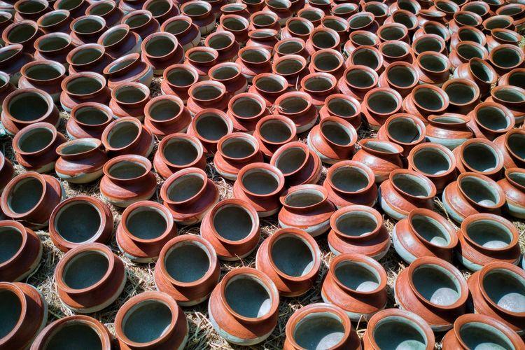 Full frame shot of earthenware