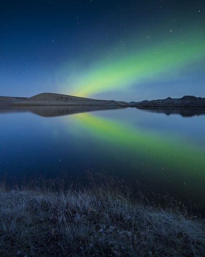Water Scenics - Nature Beauty In Nature Non-urban Scene Astronomy Grass Reflection Nature No People Night Lake Space Green Color Sky Star - Space Aurora Borealis Northern Lights Aurora Iceland Reflections Reflections In The Water EyeEm Best Shots EyeEmNewHere EyeEm Nature Lover EyeEm Selects