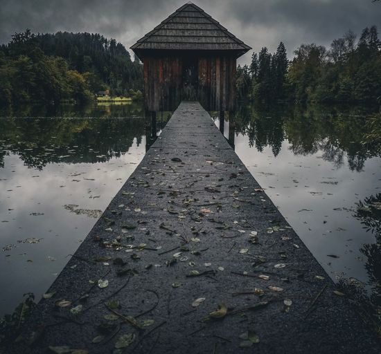 Cabin at the lake Architecture Built Structure Tree No People Nature Direction Diminishing Perspective Building Exterior Day Plant Sky Outdoors Transportation The Way Forward Tranquility Reflection Lake Surface Level Wet