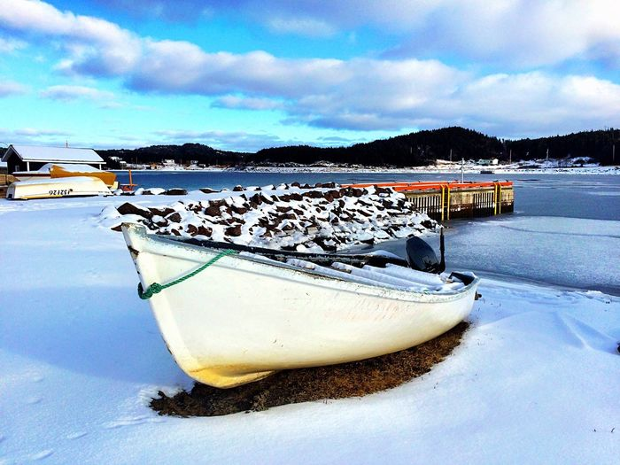 Winters Rest- iPhone 5S Landscape_photography Snow Landscape Landscape_Collection Boat Winter Sea Sea And Sky Water Ice Fishing Canada Cold EyeEm Best Shots Nature Nature_collection Boats Newfoundland 2016 Coastline Wanderlust Light And Shadow Seaside Seascape The Great Outdoors - 2016 EyeEm Awards