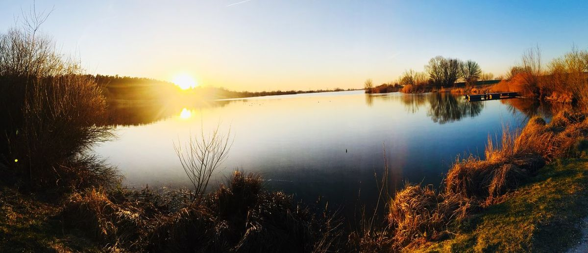 Taking Photos Check This Out Hello World Water Sky Reflection Beauty In Nature Plant Tree Sunset Sunlight Nature Lake Sun No People Outdoors
