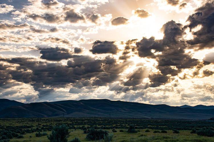 Mountain Rural Scene Agriculture Field Dramatic Sky Sky Landscape Cloud - Sky Storm Cloud Calm Plowed Field Streaming Sunbeam Silhouette Idyllic Sun Sky Only Shining
