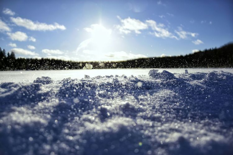 EyeEmNewHere Cloud - Sky Snow Landscape Nature Sky Beauty In Nature Cold Temperature Day No People Tranquil Scene Scenics Outdoors Freshness Macro Close—up Springtime Beauty In Nature Nature Shot Cold Winter Weather Snowflake Snowflakes