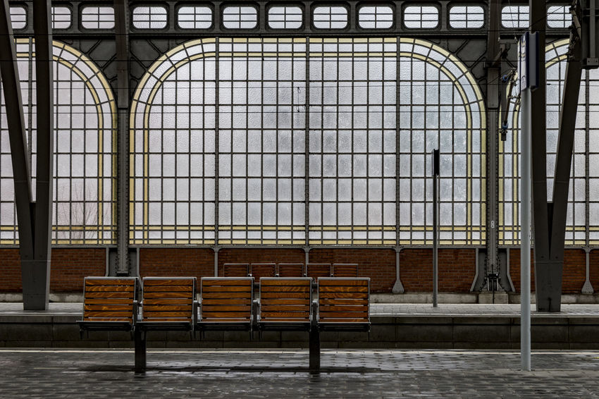 bench Arch Architecture Architecture Bench Built Structure Central Station Lübeck Day Empty Glass Indoors  Lübeck, Germany No People Seats Silent Sport Windows