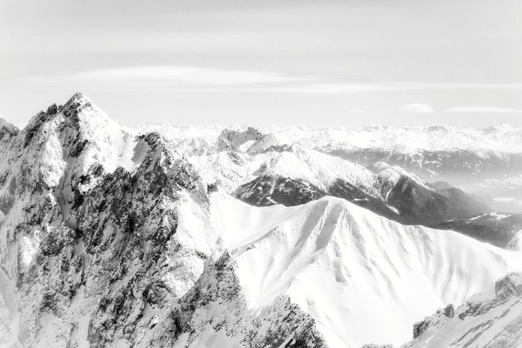 On top Mountains Backgrounds Mountain View Bavarian Alps Zugspitze Scenics Tranquil Scene Blackandwhite Black & White Black And White Photography Mountains Silence Scenic View Bavaria Background Bavarian Landscape Mountain Snow Winter Sky Landscape Travel Snowcapped Mountain Dramatic Landscape Mountain Range Majestic Full Frame Tranquility Idyllic