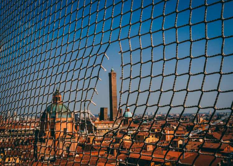 Bologna Cityscape The Week On EyeEm View Architecture Building Exterior Buildings Built Structure Chainlink Fence City Clear Sky Construction Site Day Eye4photography  Italy Medieval No People Outdoors Protection Safety Sky Towers
