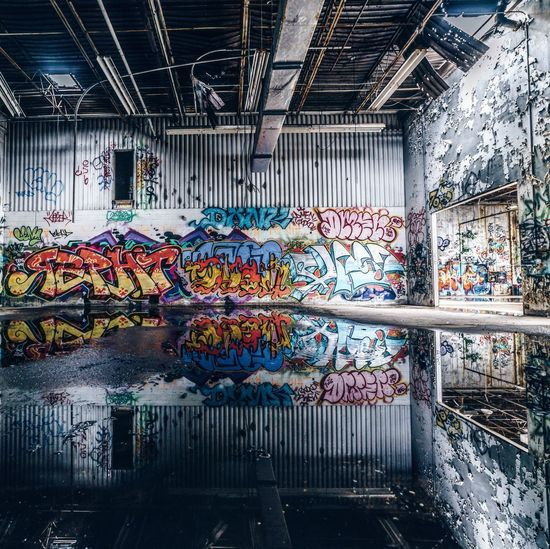 Graffiti Multi Colored Factory Built Structure Industry Indoors  Water No People Day Architecture Close-up