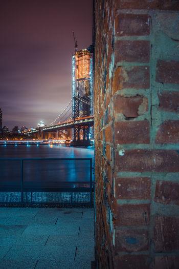 Brick by Brick New York City Night Photography Nightphotography Architecture Building Exterior Built Structure City Illuminated Manhattan Bridge Night No People Outdoors Sky Water