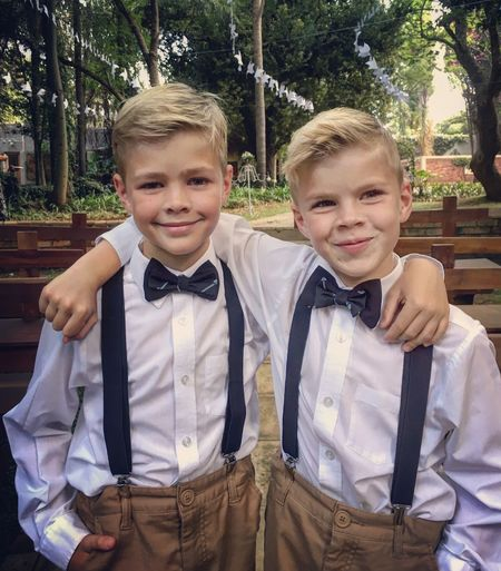 Blond Hair Bonding Boys Casual Clothing Childhood Friendship Happiness Lifestyles Looking At Camera Portrait Sibling Smiling Standing Togetherness Two People