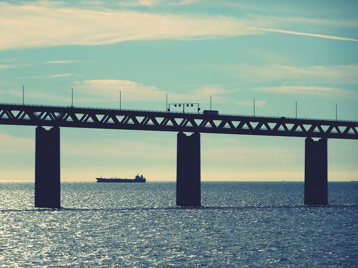 Water Built Structure Bridge - Man Made Structure Waterfront Sea Ship Bridge öresundsbron öresund Sunset Øresundsbron øresund øresund Bridge Sweden Denmark Transportation Architecture Connection