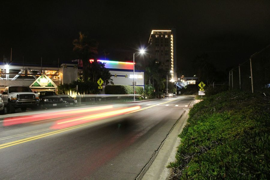 Night Long Exposure Light Trail Illuminated Speed Motion City City Street No People Road Outdoors Cityscape Urban Skyline Building Exterior Architecture Sky Oceanside, Ca Oceanside Vacations Leisure Activity Marina Bay Mobility In Mega Cities