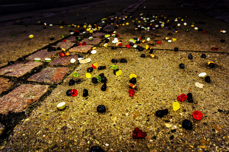 Bricks Candy Lost Candy Mess Messy Outdoors Sidewalk Street