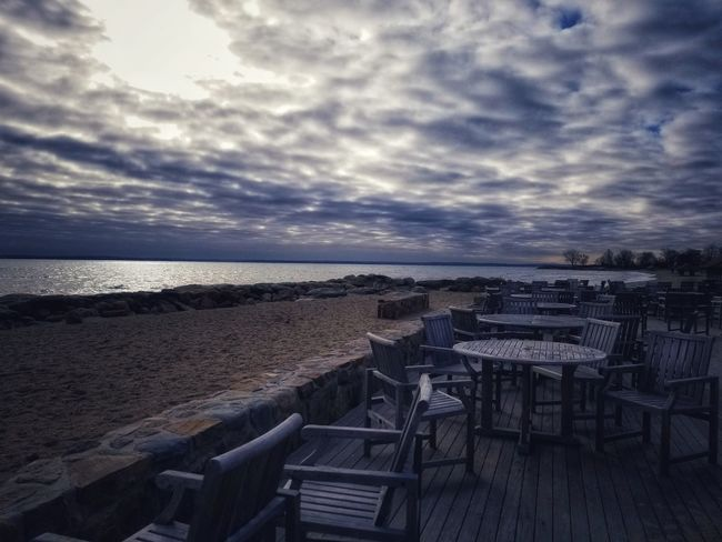 Outdoor Dining by the Beach Sea Railing Horizon Over Water Cloud - Sky Sky Water Nature Outdoors Tranquility No People Scenics Beauty In Nature Day