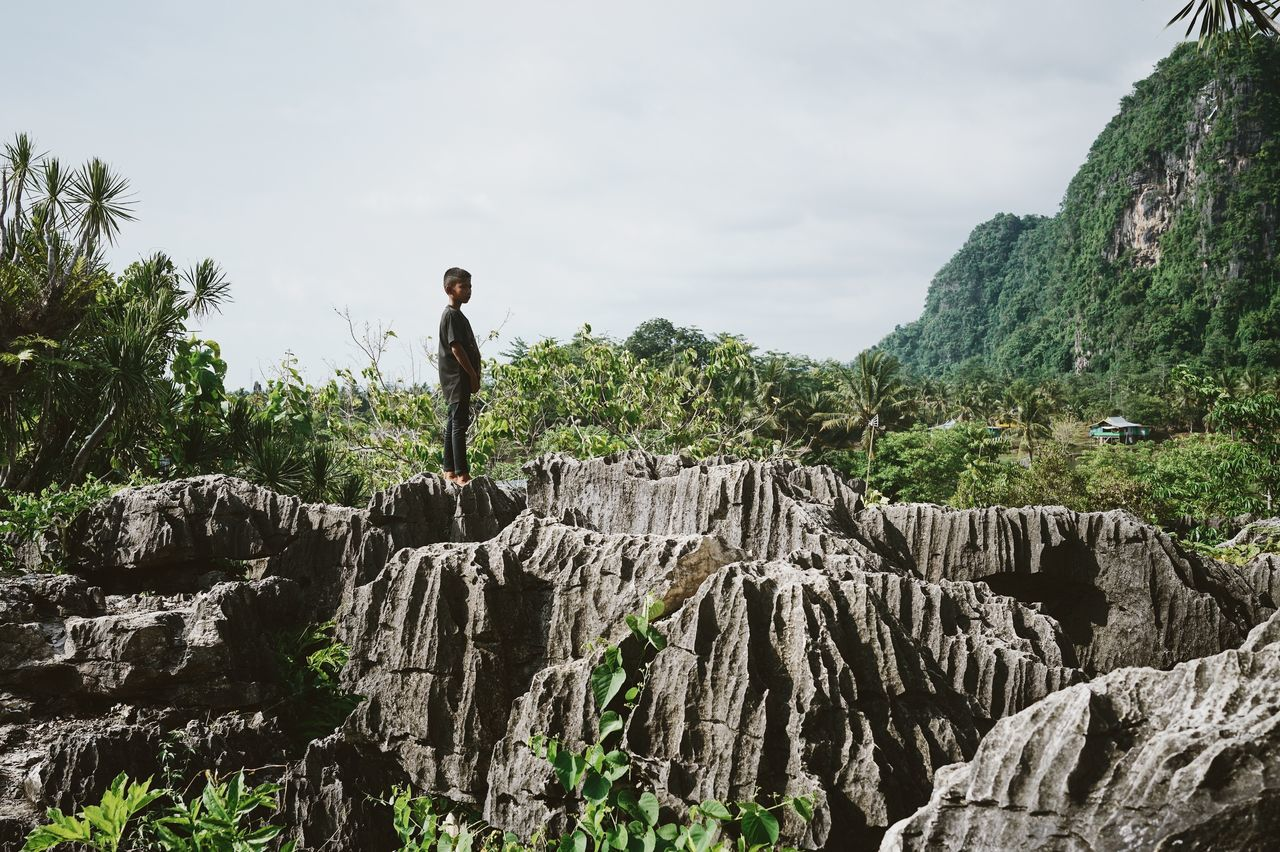 rock - object, full length, one person, real people, nature