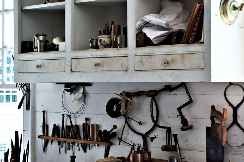 Hand tools on wall