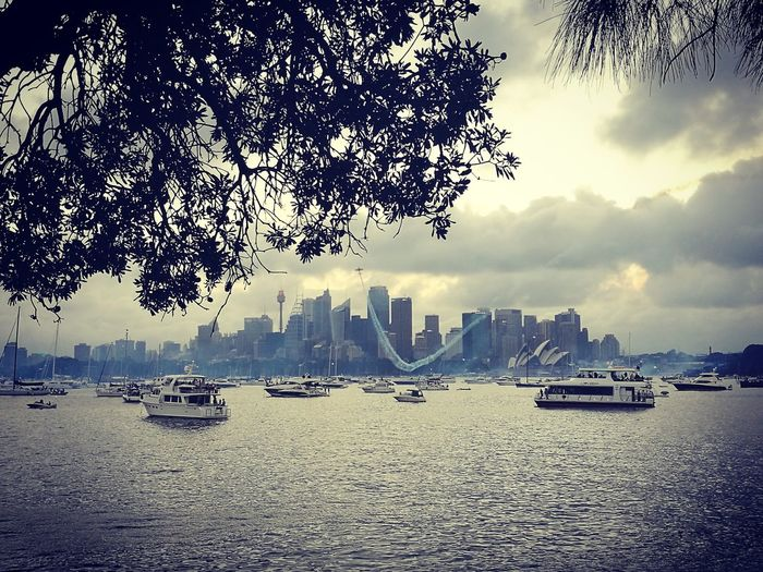 Sydney, Australia Operahouse Airshow Demonstration NewYear Water Outdoors Sky Harbor Yachting Yacht No People Sea Nautical Vessel Mountain Beach Day Nature First Eyeem Photo