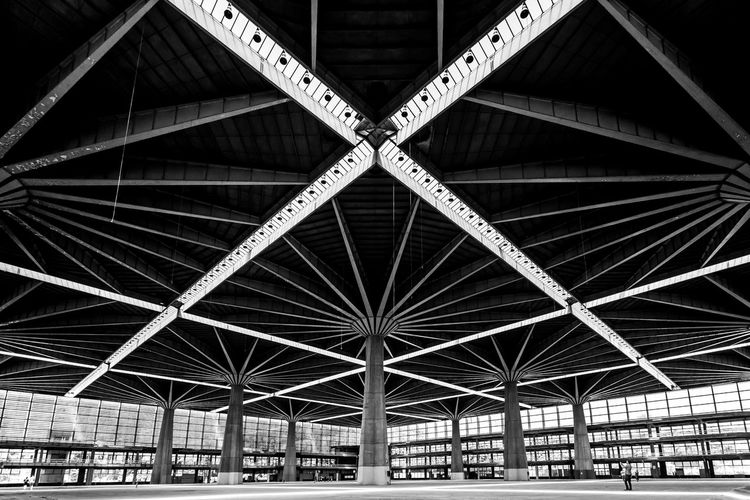 X - Ten 10 X Ten Architectural Feature Architecture Building Built Structure Ceiling Day Design Domestic Room Geometric Shape Girder Indoors  Industry Low Angle View Metal No People Pattern Roof Roof Beam Shape Sunlight Transportation