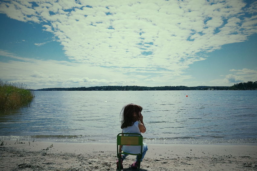 Rear View Beach Only Women One Woman Only One Person Sea Water Adult People Women Adults Only Sky Nature Tranquility Sand Standing Summer Cloud - Sky One Young Woman Only Outdoors Beach View Beach Kids Beach Photography Innocence Vacations