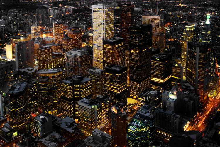 Full frame shot of illuminated cityscape at night
