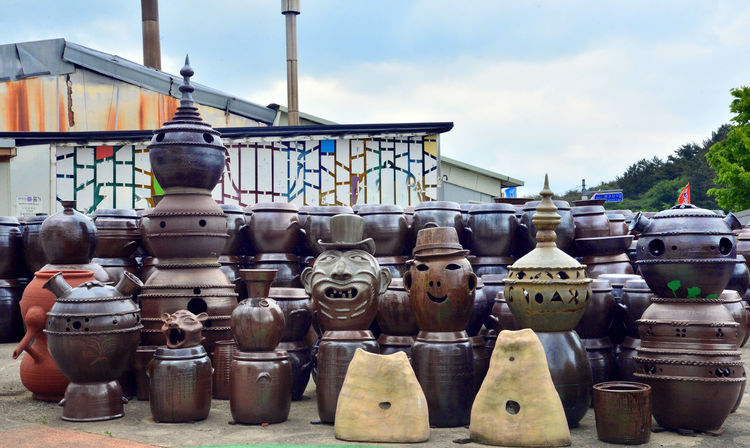Sky Cloud - Sky Large Group Of Objects Day Outdoors No People Pottery Pottery Art Face Funny Face