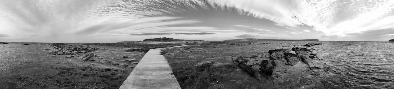 At the Orkney Islands Sky Cloud - Sky Sea Water Scenics - Nature Nature Beauty In Nature Land Environment Tranquility Tranquil Scene Panoramic Horizon Beach No People Landscape The Way Forward Rock Outdoors Direction Neverstopexploring  Travel Blackandwhite Orkney Islands