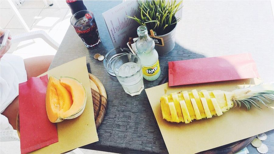 Pineapple Food And Drink Table Food High Angle View Freshness Refreshment Drink Indoors  Healthy Eating Drinking Glass Plate SLICE Fruit No People Day Ready-to-eat Close-up Vacation Frukt Fit