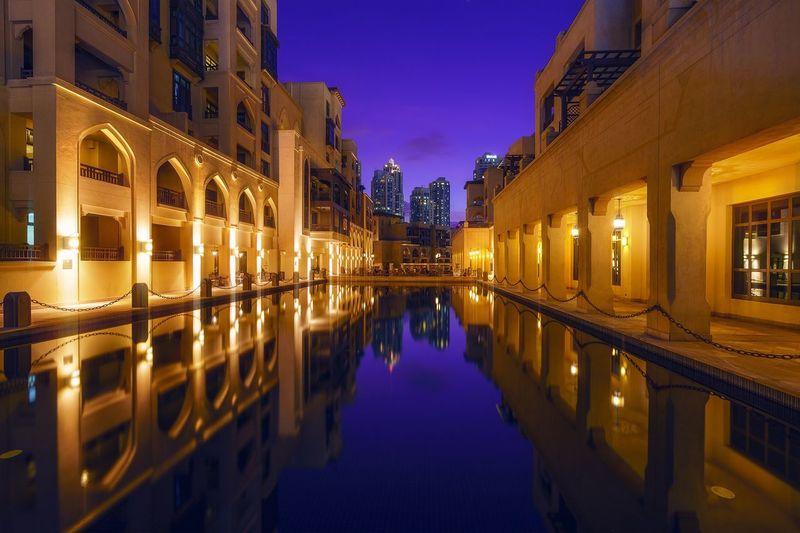 Architecture Night Reflection Illuminated Travel Destinations No People Dubai Downtown Dubai Soukalbahar UAE EyeEmNewHere EyeEmNewHere