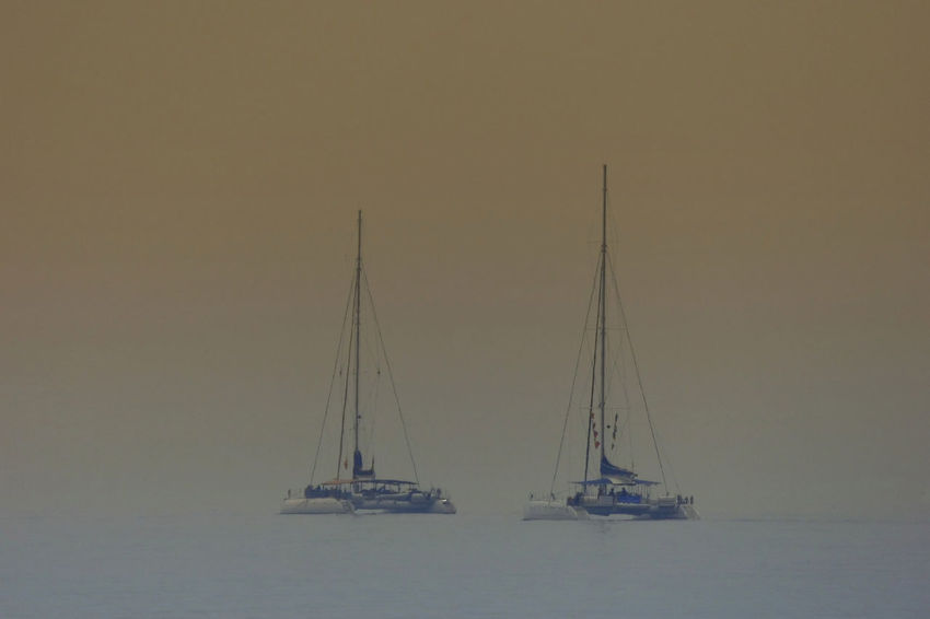 Beauty In Nature Canvas Copy Space Mast Mode Of Transportation Nature Nautical Vessel No People Outdoors Pole Sailboat Sailing Scenics - Nature Sea Ship Sky Transportation Travel Water Waterfront Yacht