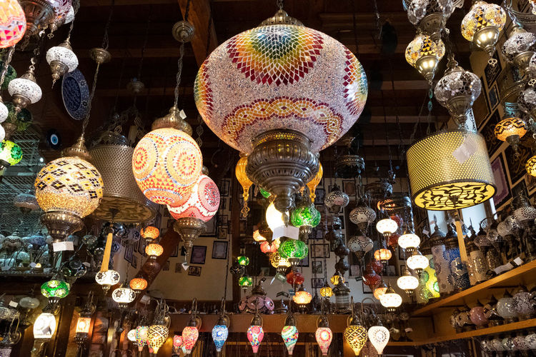 Mosaic lamps Lighting Equipment Hanging Decoration Lantern Choice No People Retail  Market Low Angle View Large Group Of Objects For Sale Built Structure Architecture Electric Light Electric Lamp Paper Lantern Ceiling Retail Display Light Indoors  Store Night Oriental Oriental Style EyeEm Travel Photography