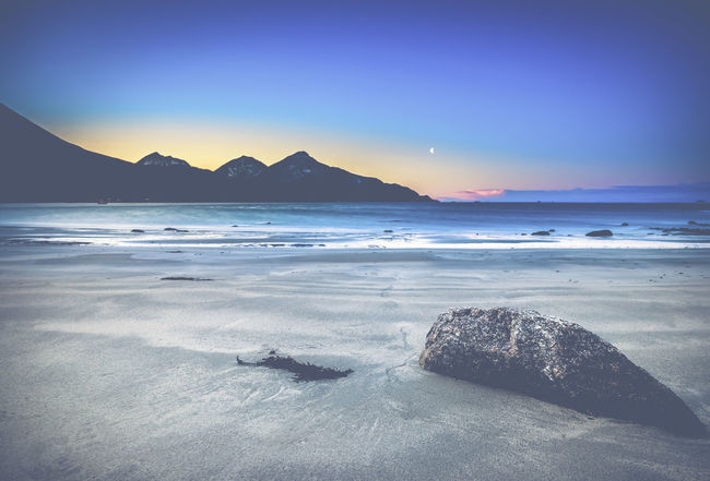 Grotfjord Beach Beauty In Nature Clear Sky Day Horizon Over Water Landscape Mountain Nature No People Outdoors Rock At Beach Salt - Mineral Scenics Sea Sky Sunset Tranquil Scene Tranquility Water