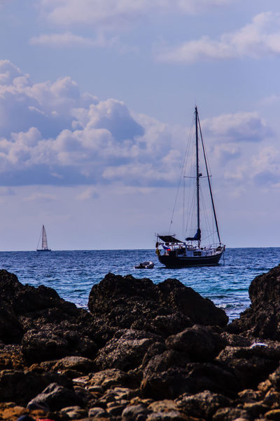PromThepCape Promthep Cape Beach Beauty In Nature Cloud - Sky Day Horizon Over Water Mast Mode Of Transport Moored Nature Nautical Vessel No People Outdoors Promthep Sailboat Sailing Sailing Ship Scenics Sea Ship Sky Tranquility Transportation Water Yacht