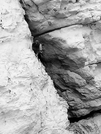 Rock - Object Rock Climbing Climbing Adventure One Person Day Adults Only Exploration People Adult Hiking Leisure Activity Nature Outdoors Young Adult Extreme Sports Only Women Rock Face Full Length Low Angle View Black And White Friday