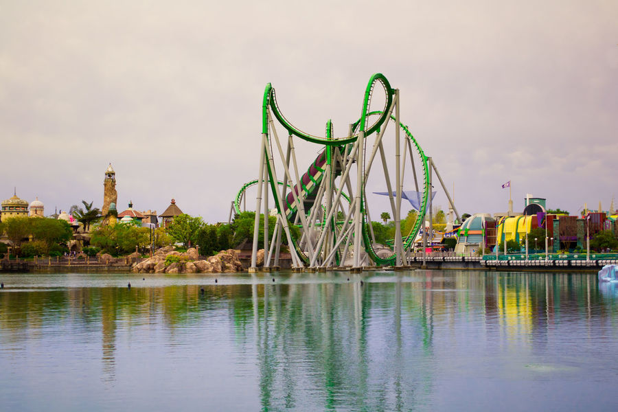Amusement Park Built Structure Calm Water Calmness Evening Light Evening Sky Family Time Fun No People Orlando Florida Outdoors Park Reflection Roller Coaster Rollercoaster Theme Park Tranquil Scene Travel Destinations Tropical Climate USAtrip Water
