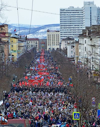 A Victory Parade. Immortal Regiment. Architecture Building Exterior Built Structure City Crowd Day Large Group Of People Outdoors People Real People Sky Tree Victory Parade  бессмертный полк The Street Photographer - 2017 EyeEm Awards The Photojournalist - 2017 EyeEm Awards Let's Go. Together.