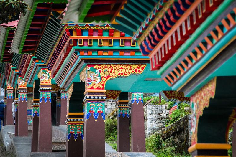 Interior of temple against building