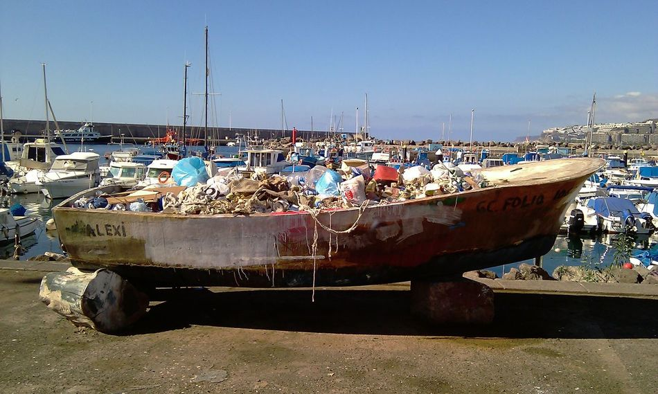 Day Harbor Junk Mode Of Transport No People Old Boat On Land Outdoors Sea Sky Transportation Trash Water