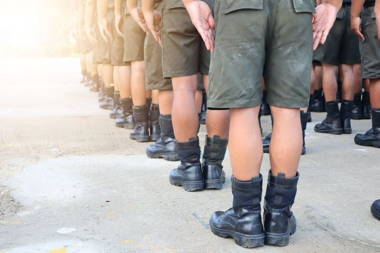 Low Section Military Standing Human Leg Army Soldier Shoe Sandal Military Parade Marching Parade Holy Week Rainbow Flag Soldier Kilt Armed Forces Protestor Marching Band Flip-flop Human Foot Army Rifle Army Helmet Military Uniform Camouflage Clothing Machine Gun Cannon Boot