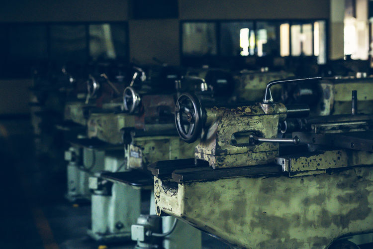 Close-up of old machinery in industry