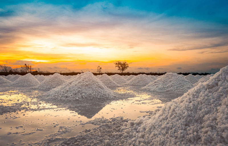 Snow covered land against sky during sunset