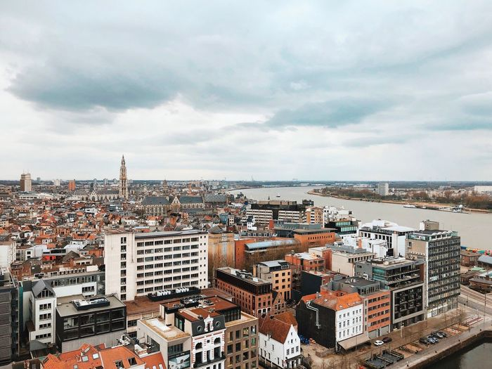 European  Europe Belgium Cityscape Antwerp, Belgium Antwerpen Antwerp Riverside River Cloud - Sky Architecture Sky Building Exterior Built Structure City Building Day No People Nature High Angle View Residential District Water Cityscape Outdoors Overcast
