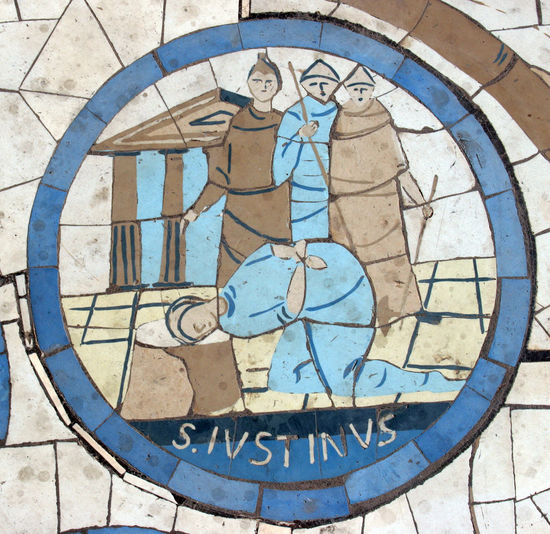 Saint Justin Martyr, Mosaic in front of the church on the Mount of Beatitudes Beatitudes Belief Biblical  Christianity Church Galilee Historical Holy Israel Jesus Justin Martyr Middle East Mosaic Mount Religion Religious  Saint Sermon Shrine Spiritual Stone