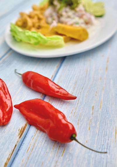 Close-up of red chili peppers in plate on table