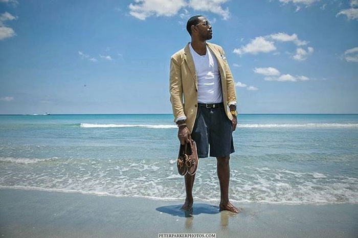 Shoot with the BIG Homie Last Sunday Model Mr @lb_bundles Modeling Casual / Atheletics Beach Shot Blazer Shorts Gold Watch n Glasses GQ Pose Sun Clouds Sky n Ocean Dm for Booking south florida photographer peterparkerphotos.com