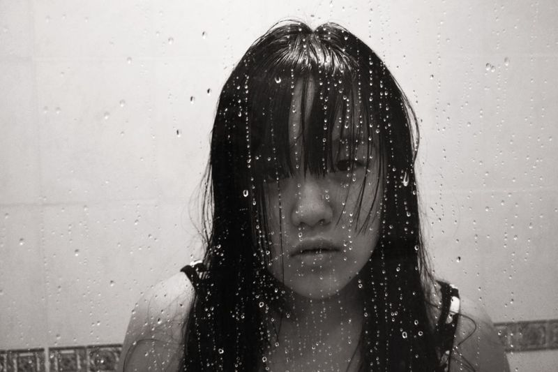 Drop Wet Water One Person Wet Hair Only Women People Adults Only One Woman Only Front View Adult One Young Woman Only Young Adult Headshot Motion Young Women Close-up Day Shower Black & White