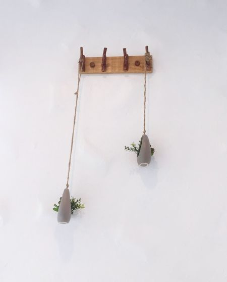 Plants and decoration hanging against wall