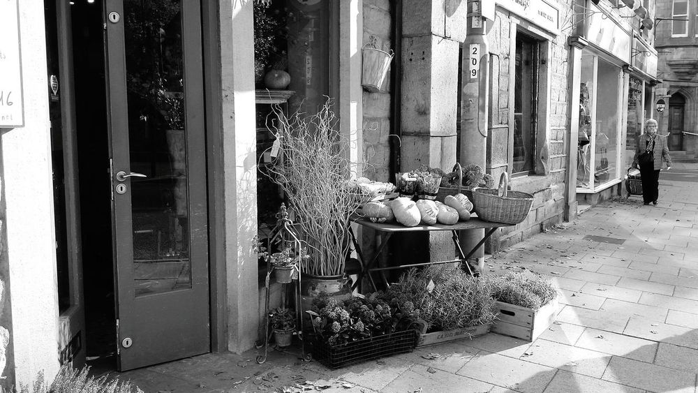 B&w Street Photography Old But Awesome Street Streetphotography Urban Landscape Urban Geometry Urban EyeEm Eye4photography  People Amazing Architecture Architecture_bw Architectural Detail Black And White Monochrome Black & White Architecture Path Footpath Pavement Pavementporn Shops Hebden Bridge Greengrocer Autumn